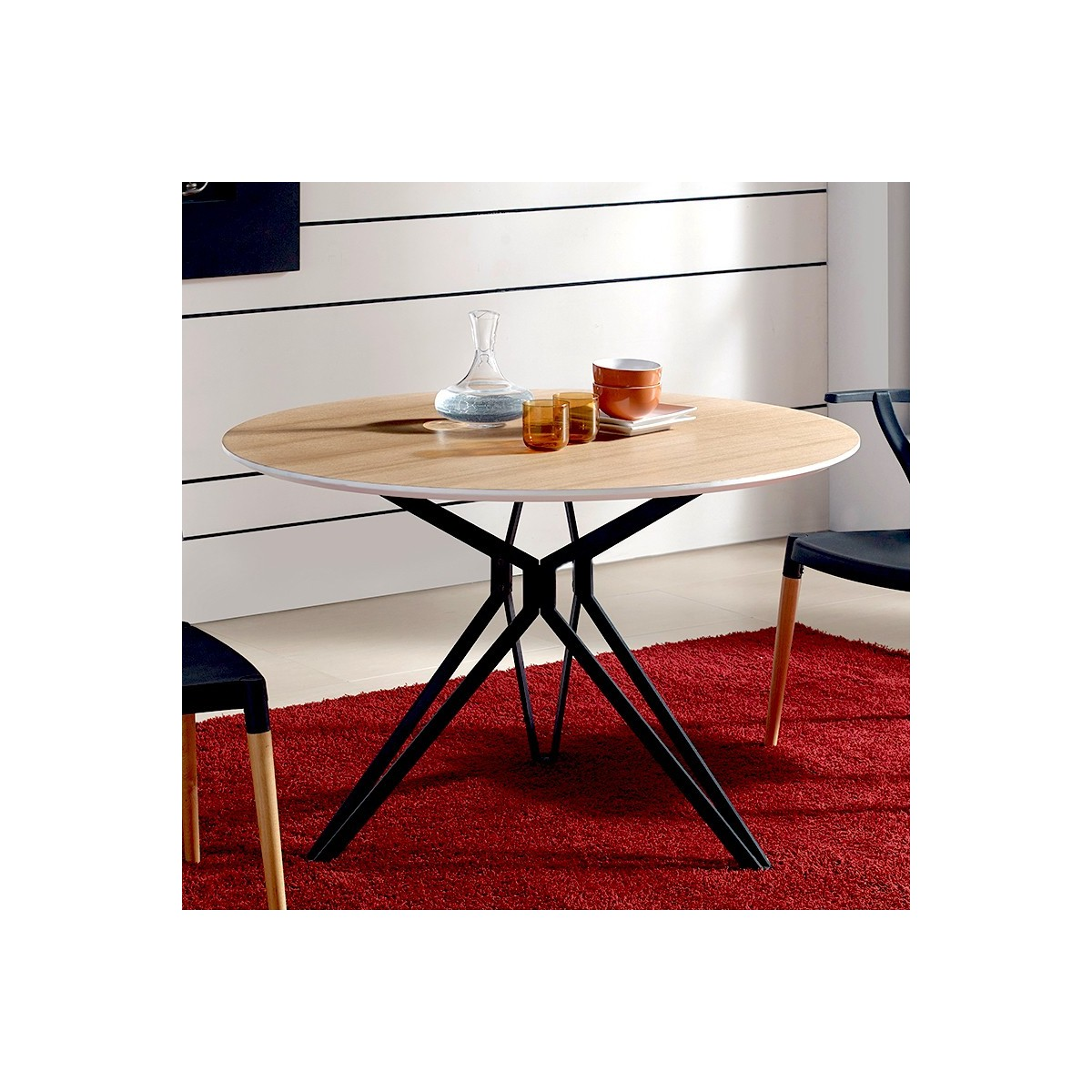 table a manger state ronde pietement noir. Black Bedroom Furniture Sets. Home Design Ideas