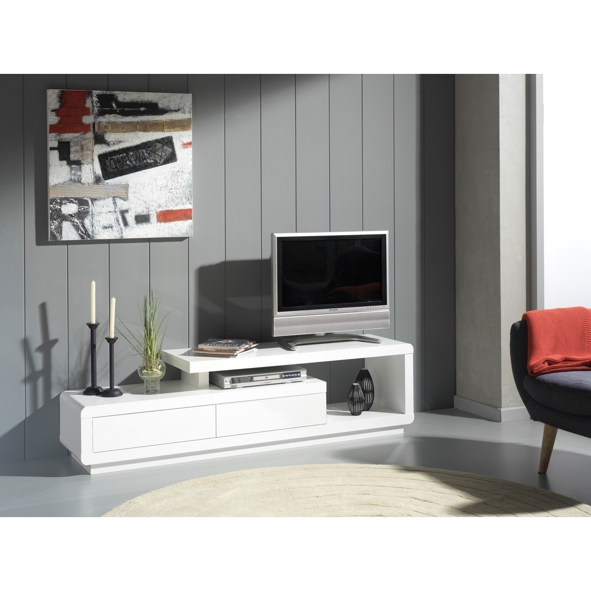 Zeus Blanc Lemobilier Ma # Meuble Tv Zeus