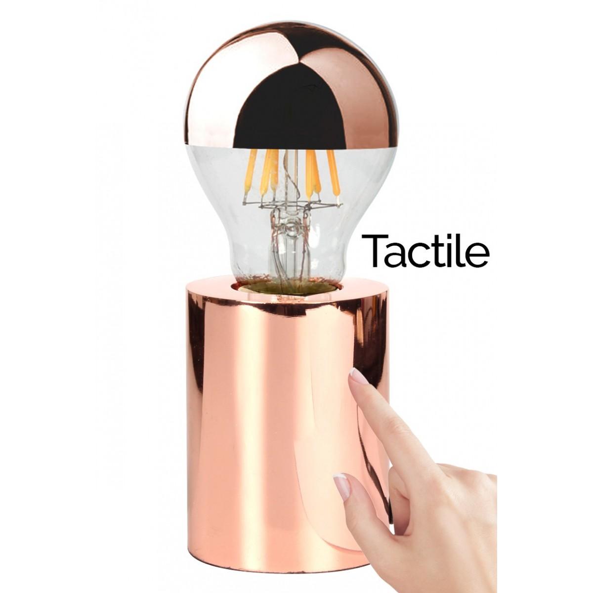 Lampe poser tactile touch cuivr e avec ampoule edison - Lampe a poser tactile ...