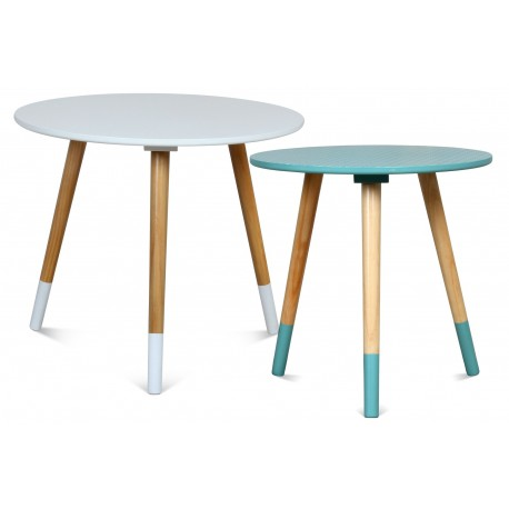 Duo de tables AZA BLANC-TURQUOISE