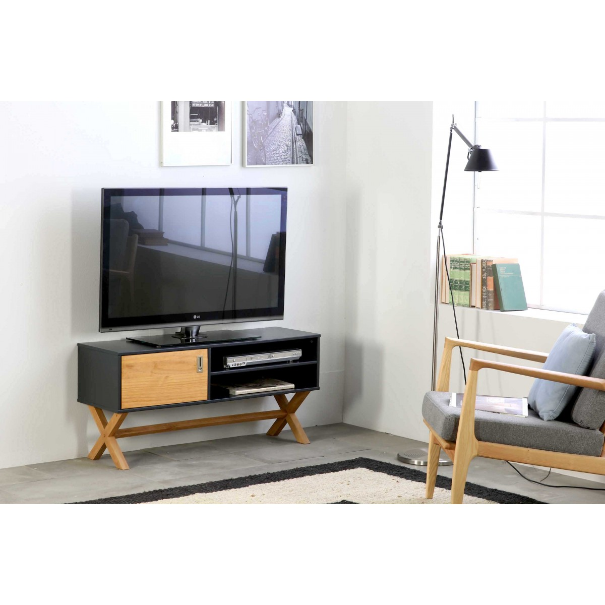 Meuble Tv Lidie Anthracite Lemobilier Ma # Meuble Tv Anthracite