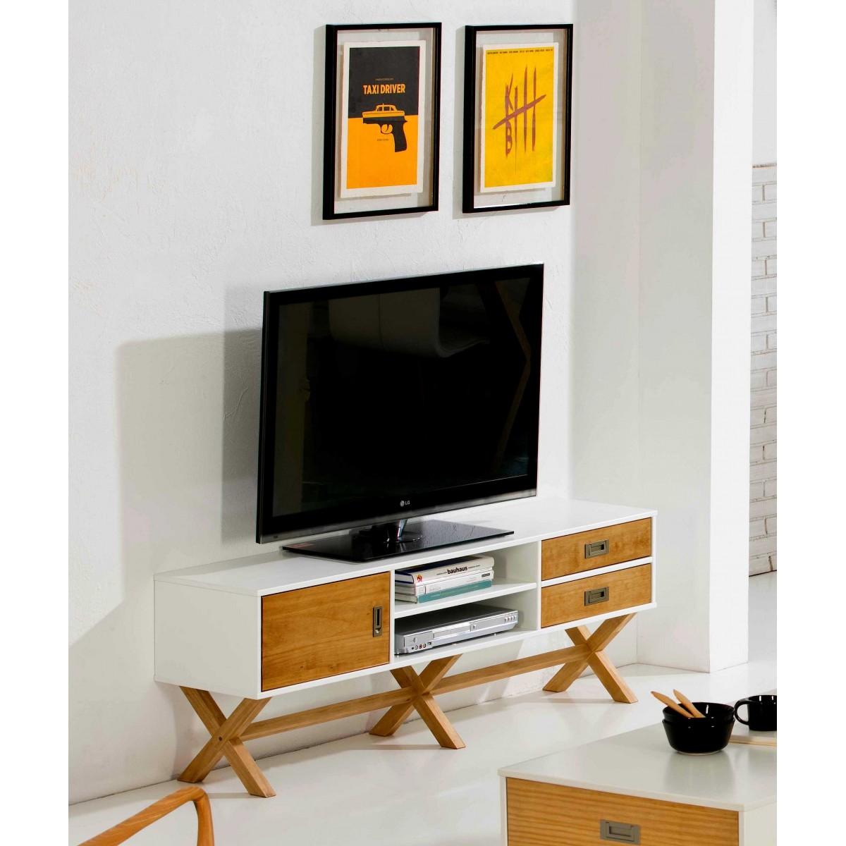 Meuble Tv Lidie Xl Blanc Lemobilier Ma