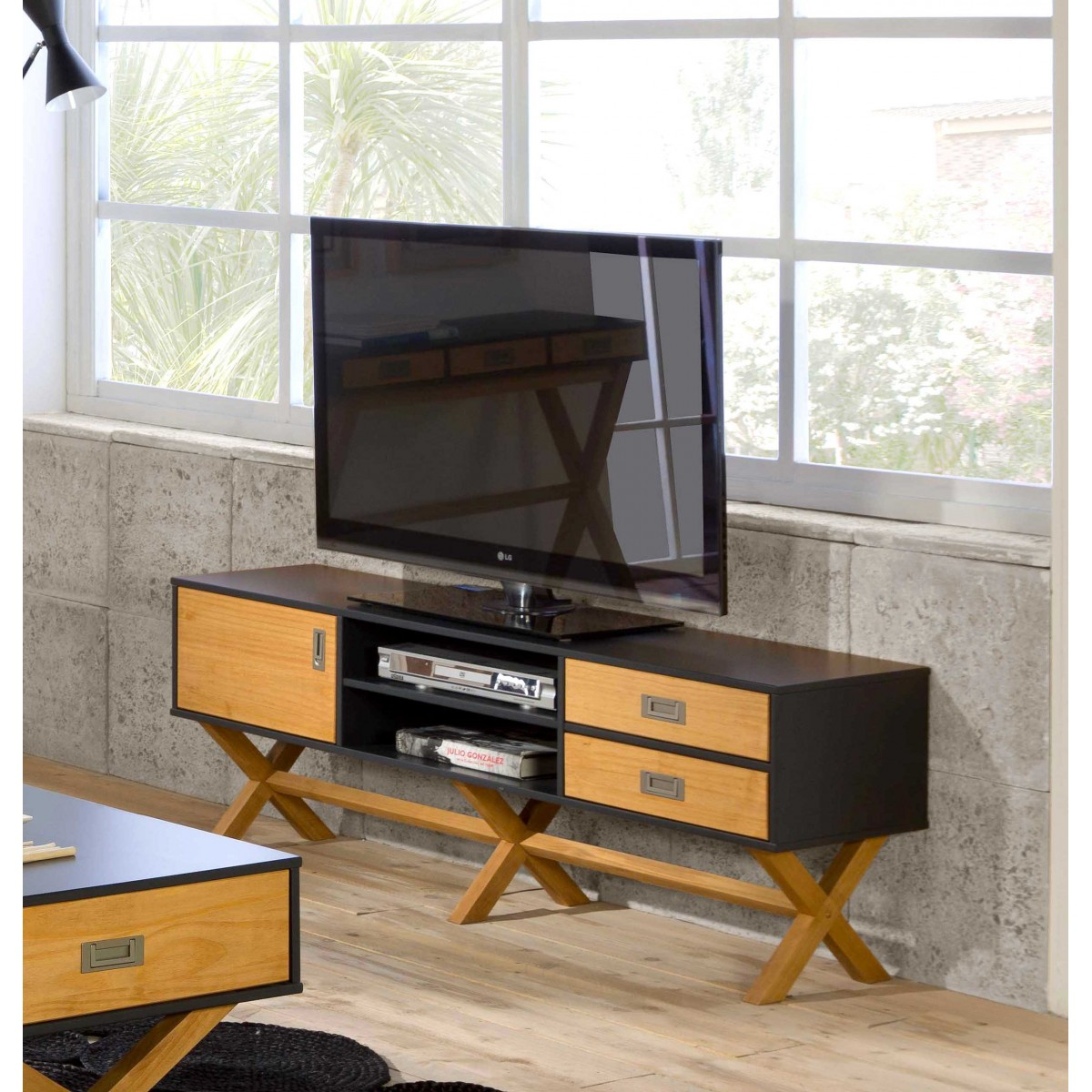 Meuble Tv Lidie Xl Anthracite Lemobilier Ma # Meuble Tv Anthracite