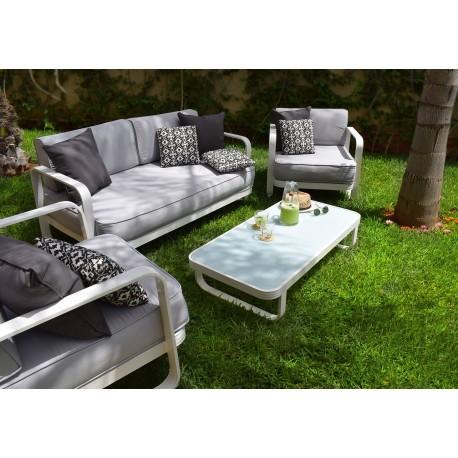 SALON 4pces outdoor LEYA Blanc satin/Assise grise