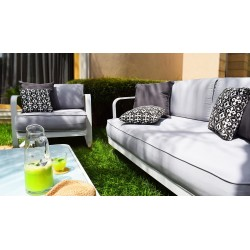 SALON 4pces outdoor LEYA Blanc satin/Assise grise