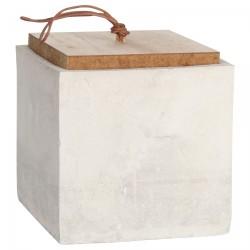 Cube range-tout - ciment BIO, bois & cuir