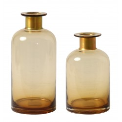 DUO de Vases SIVY en verre soufflé Ambre et à col en Laiton - LUNGO