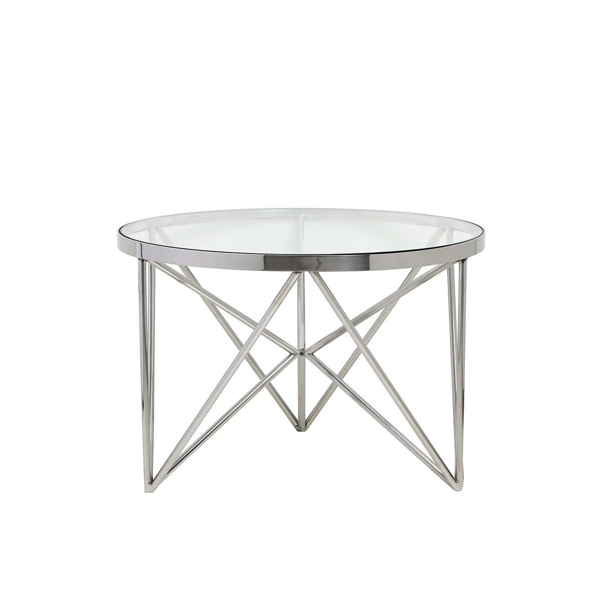 table kine ronde en nickel poli. Black Bedroom Furniture Sets. Home Design Ideas