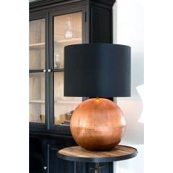 Lampe à poser BUBBLE xL - Cuivre & Toile de coton rosée de nuit