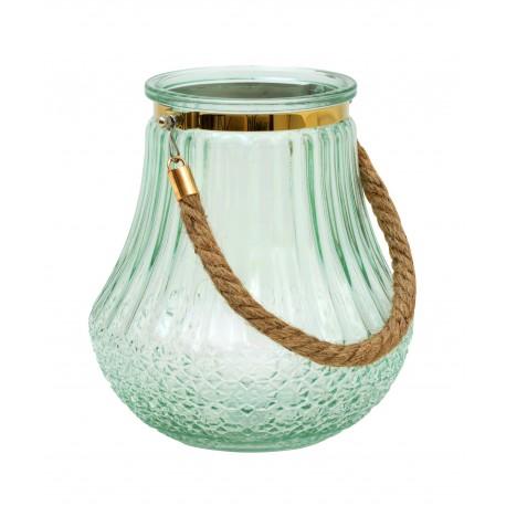 Photophore / Vase - verre soufflé & gravé Pastel Green & Gold