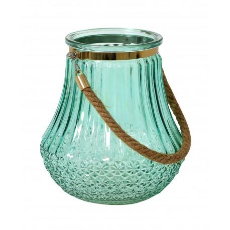 Photophore / Vase - verre soufflé & gravé Water Blue & Gold