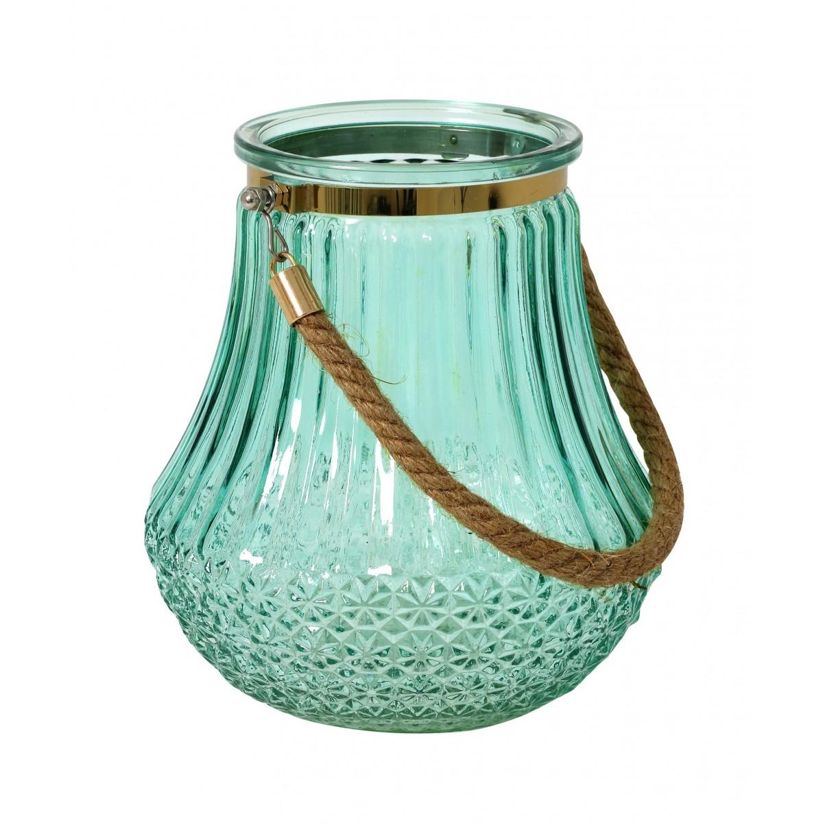 photophore vase verre souffl grav water blue gold. Black Bedroom Furniture Sets. Home Design Ideas