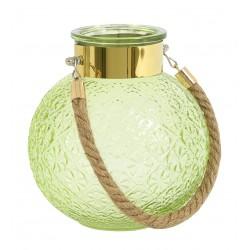 Photophore / Vase - verre soufflé & gravé Light Green & Gold
