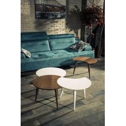 Trio de tables SANTIAGO - Chêne cendré / Laiton doré
