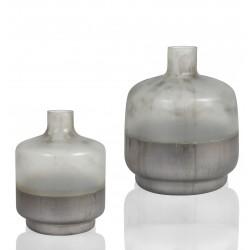 Duo de Vases OBY en verre soufflé Pastel Gris - LARGE