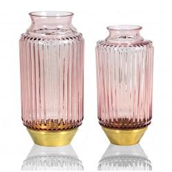 DUO de Vases RIO en verre soufflé et à base Laiton - PASTEL ROSE