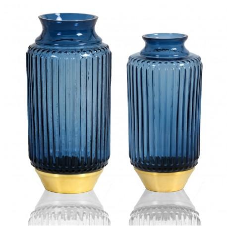 DUO de Vases RIO en verre soufflé et à base Laiton - BLEU MARINE