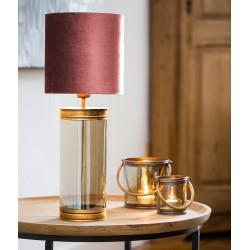 Lampe à poser MARLY xL - 80cm - Laiton, verre soufflé & Velours de coton rose poudré