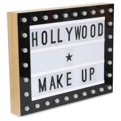 Boîte d'affichage lumineuse CINEMA 38x30cm - Black & Wood - 130 Lettres