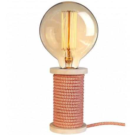 Lampe à poser STITCH Bois / Rouge Brique