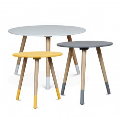 TRIO de tables AZA BLANC-JAUNE-GRIS