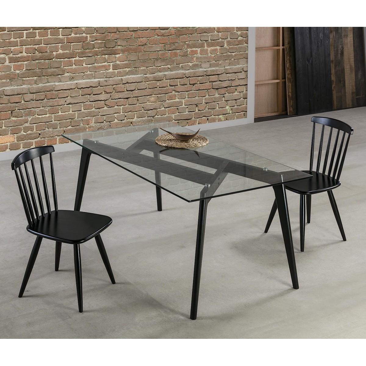 table a manger cristal rectangulaire black edition. Black Bedroom Furniture Sets. Home Design Ideas