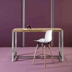 Table haute JYNA Chêne & Acier brossé