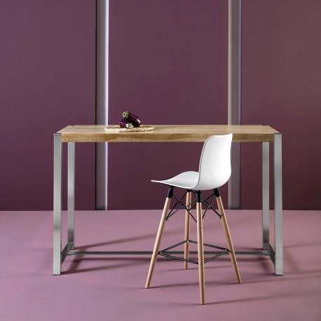 Table haute JYNA Chêne & Acier brossé - Lemobilier.ma