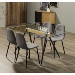 Ensemble Table & Chaises LUNA Chêne - Gris piqué noir