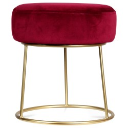 Tabouret STUART Velours - Red Cherry