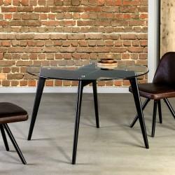TABLE A MANGER CRISTAL RONDE - Black Edition