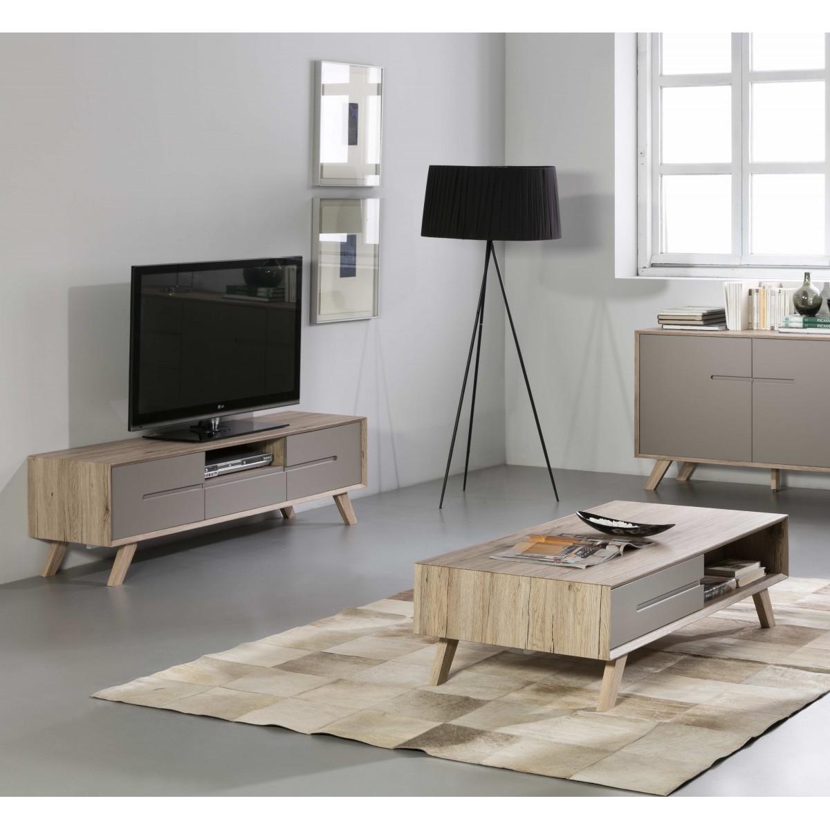 promo pack meuble tv table basse olie taupe. Black Bedroom Furniture Sets. Home Design Ideas