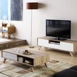 PROMO PACK - Meuble TV + Table Basse OLIE - BLANC