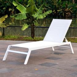 Chaise longue Alumium Blanc Perle / Textilène comfort