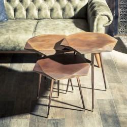 Trio de tables NORREBO - Façon acier Corten / Laiton doré
