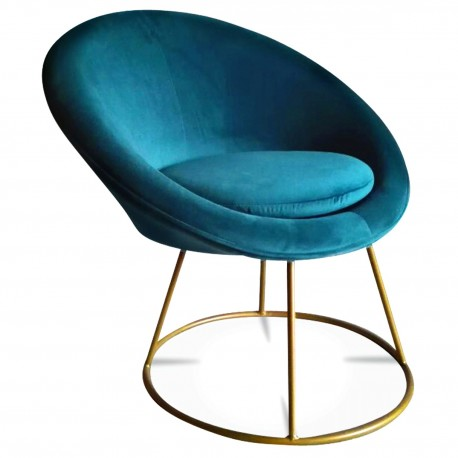 Fauteuil STUART - Round - Bleu Canard