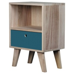 Table de chevet BARRY 1 tirroir Small - Bleu Canard