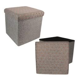 Pouf/Coffre pliable KOBE - Toile grise & motifs cuivrés