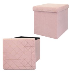 Pouf/Coffre pliable KOBE - Velours blush & motifs or