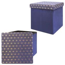 Pouf/Coffre pliable KOBE - Velours bleu marine & motifs or
