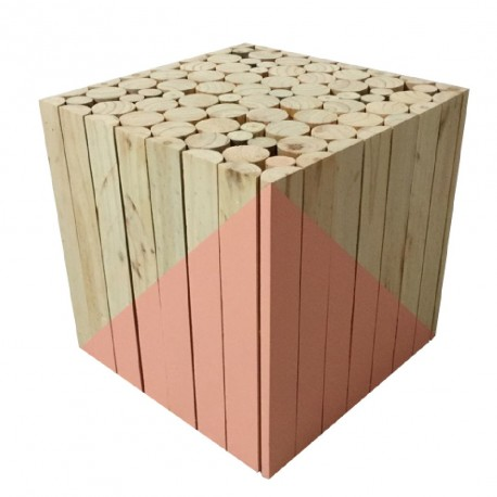 Tabouret / Table d'appoint BOX - Nature & Corail