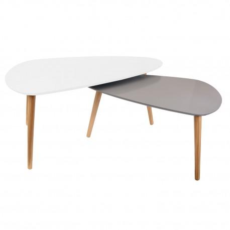 Duo de tables GALET - Blanc & Gris