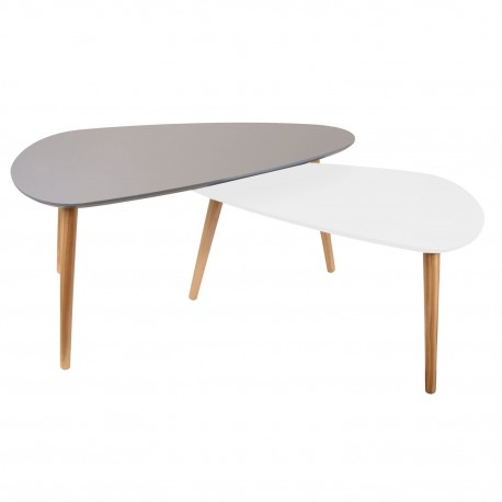 Duo de tables GALET - Gris & Blanc