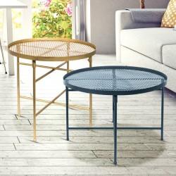Duo de tables GLAMSTEEL - Bleu  paon & Or