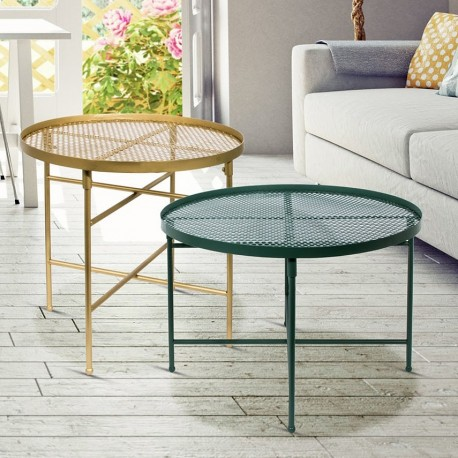 Duo de tables GLAMSTEEL - Vert d'eau & Or