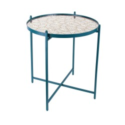 Table basse MIRA - Bleu paon, miroir & or