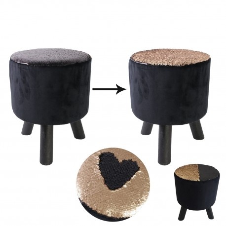 Tabouret à sequins CHIC -  Noir & or