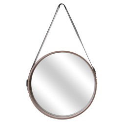 Miroir JULES Medium - Bois de chêne brut & cuir noir
