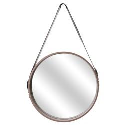 Miroir JULES Large - Bois de chêne brut & cuir noir