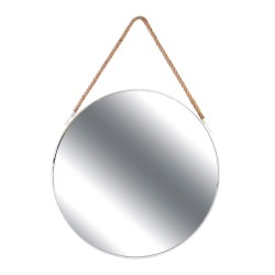 Miroir ACERO - Blanc & anse en Jonc